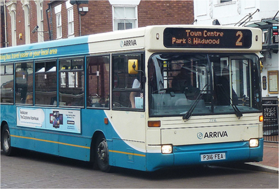 A bus in Stafford on a route that no longer exists